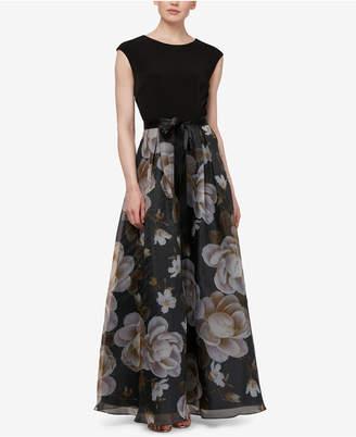 Sl Fashions Cap-Sleeve Printed Organza Gown