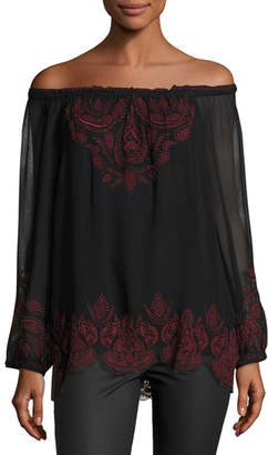 Joie Ariena Off-the-Shoulder Embroidered Blouse, Caviar/Cabernet