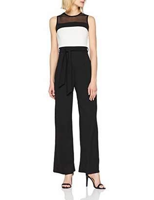 Quiz Women's Palazzo Trouser Jumpsuit (Black/Cream), 6 (Size:6)
