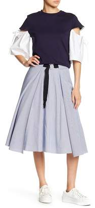 ENGLISH FACTORY Belted Stripe Skirt
