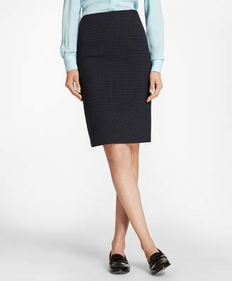 Brooks Brothers Petite Plaid Stretch Cotton Jacquard Pencil Skirt