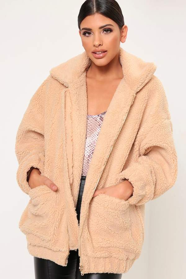Isawitfirst Camel Super Oversized Zip Through Thick Borg Jacket