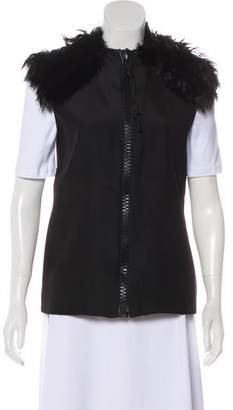 Celine Fur-Trimmed Silk & Wool Vest