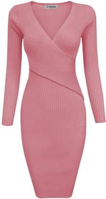 Toms Tom's Ware Womens Stylish Surplice Wrap Bodycon Knit Midi Dress TWCWD157-S-CA