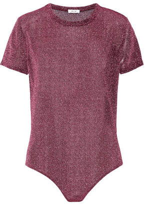 Alix - Essex Metallic Stretch-knit Bodysuit - Plum $155 thestylecure.com