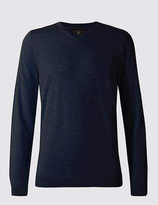 Marks and Spencer Pure Extra Fine Merino V-Neck Jumper