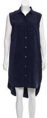 Frame Sleeveless Silk High-Low Button-Up Midi Dress