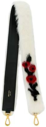 Prada mink fur rose bag strap