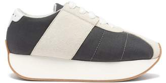 Marni Big Foot Low Top Suede Trainers - Womens - Grey
