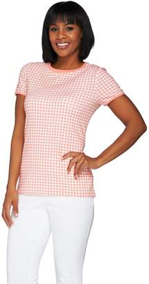 Isaac Mizrahi Live! Gingham Printed Short Sleeve Knit T-shirt