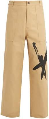 Calvin Klein Knives-print wide-leg cotton chino trousers