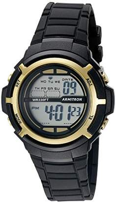 Armitron Sport Unisex 45/7045BKGD Gold-Tone Accented Digital Black Resin Strap Watch