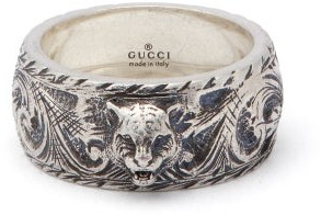 Gucci Tiger And Gg Engraved Sterling Silver Ring - Mens - Silver