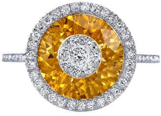 Bhansali 18k White Gold 10mm Halo Ring w/ Diamonds, Size 6.5
