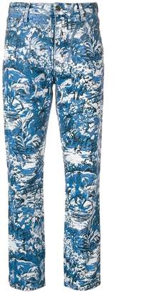 Off-White Off White tapestry cropped jeans