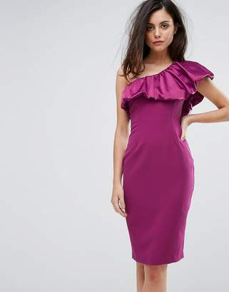 Vesper One Sleeve Pencil Dress With Satin Ruffle
