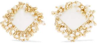 Flapper Gold-tone Multi-stone Clip Earrings - White