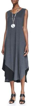 Eileen Fisher Sleeveless Colorblock V-Neck Jersey Dress $278 thestylecure.com