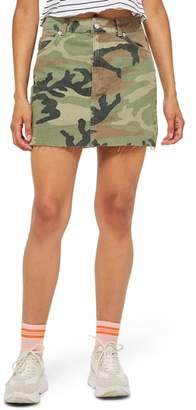 Topshop Camouflage Denim Skirt