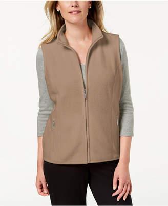 Karen Scott Zeroproof Fleece Stand Collar Vest, Created for Macy's
