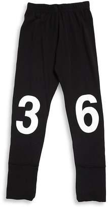 Nununu Little Girl's Number Cotton Leggings - Black, Size 3-4