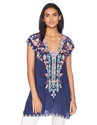 Johnny Was Women's Cap Sleeve Multicolor Embroidered Rayon Tunic