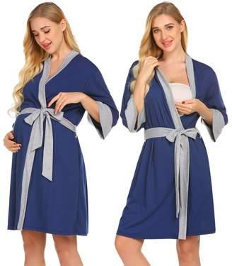 40e3e7bc2c Ekouaer Maternity Robe Nursing Bathrobe 3 4 Sleeve Breastfeeding Delivery  Gowns