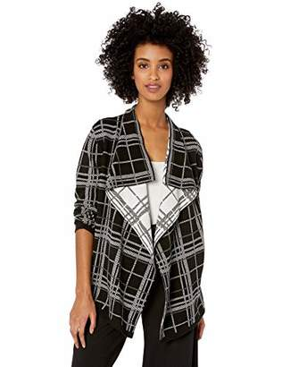 Chaus Women's Long Sleeve Plaid Cardigan