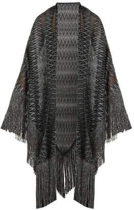 Missoni Metallic Crochet Knit Wrap Scarf - Womens - Silver