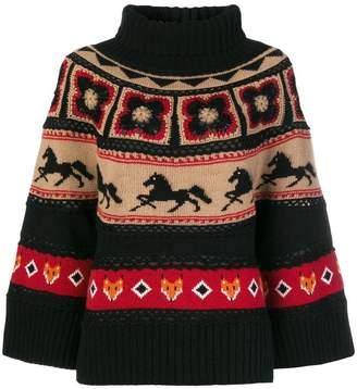 Alberta Ferretti intarsia-knit turtleneck jumper