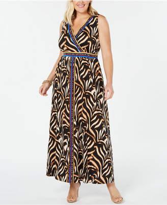 INC International Concepts I.n.c. Plus Size Surplice Tiger-Print Maxi Dress