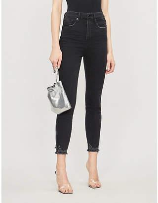 Good American Good Legs cropped raw hem straight-leg high-rise jeans