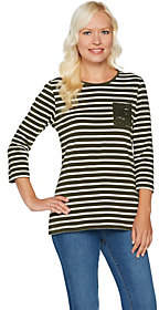 Denim & Co. Perfect Jersey Striped Top withLace Pockets