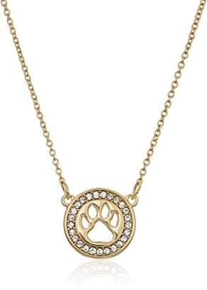 Pet Friends tone/Crystal Paw Pendant Necklace