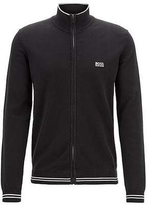 HUGO BOSS Zip-through cardigan with contrast tipping and structured details