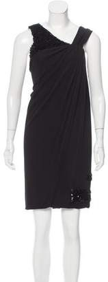 Yigal Azrouel Leather-Tiered Asymmetrical Dress