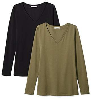 Daily Ritual Women's Stretch Supima Long-Sleeve V-Neck T-Shirt