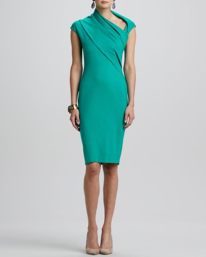 Oscar de la Renta Cap-Sleeve Asymmetric-Neck Dress