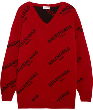 Balenciaga - Intarsia Wool-blend Sweater - Red $885 thestylecure.com