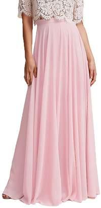 Omleas Omelas Women Long Floor Length Chiffon High Waist Skirt Maxi Bridesmaid Dress