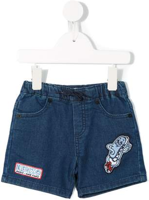 Kenzo patch embellished denim shorts