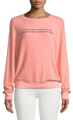 Wildfox Couture Rose Glasses Graphic Crewneck Sweatshirt