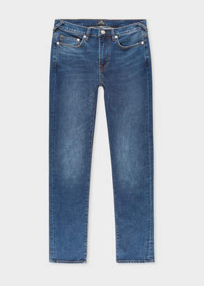 Paul Smith Men's Slim-Fit 11.8oz 'Crosshatch Stretch' Antique-Wash Jeans
