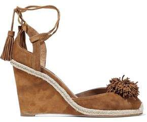 Aquazzura Sunshine Pompom-Embellished Suede Wedge Sandals