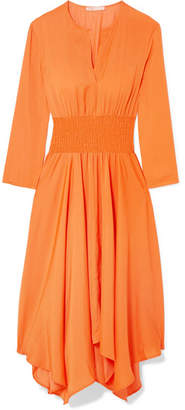 Maje Shirred Voile Midi Dress - Orange