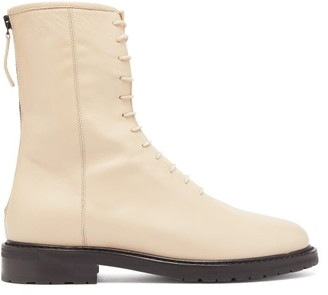 Legres - Tread Sole Lace Up Leather Boots - Womens - Nude