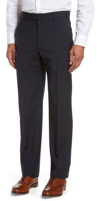 Men's Zanella Devon Flat Front Check Wool Trousers $325 thestylecure.com