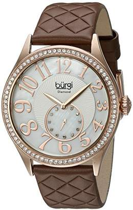 Burgi Women's BUR141RGBR Round White Mother of Pearl and Silver Dial with Embossed Swirled Center Small Seconds Quartz Strap Watch