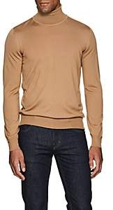 Brioni Men's Fine-Gauge Wool Turtleneck Sweater - Beige, Tan