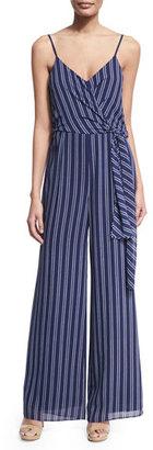 MICHAEL Michael Kors Bengal-Striped Wide-Leg Jumpsuit, Navy $155 thestylecure.com